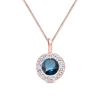 Auriya 14k Gold 1/2ct TDW Round Halo Blue Diamond Necklace
