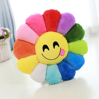 'Savouring Face' Cotton Plush Expression Flower Emoji Pillow