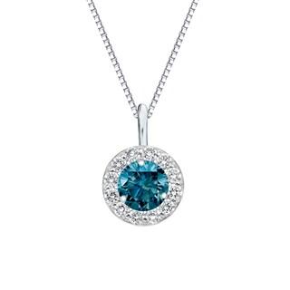 Auriya 14k Gold 3/4ct TDW Blue Diamond Halo Necklace (Blue)