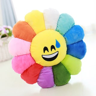 BH Toys Sweating Face Multicolor Cotton Emoji Plush Expression Flower Pillow