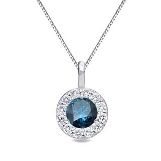Auriya 14k Gold 1ct TDW Blue Diamond Halo Necklace (Blue)