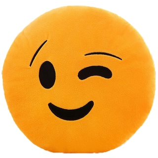 Emoji Plush Winking Face Expression Pillow