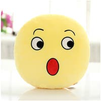 QQ Emoticon Surprise Face Emoji Yellow Cotton Round Plush Pillow