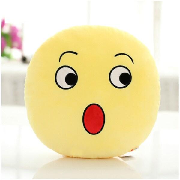 QQ Emoticon Surprise Face Emoji Yellow Cotton Round Plush Pillow