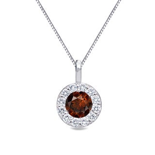 Auriya 14k Gold 1/2ct TDW Brown Diamond Halo Necklace (Brown, I1-I2)