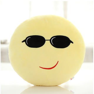 QQ Emoticon Face Proud Face Emoji Yellow Round Plush Pillow