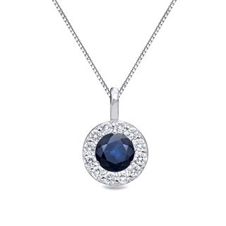 Auriya 14k Gold 1/3ct Blue Sapphire Gemstone and 1/5ct TDW Round Diamond Halo Necklace (H-I, I1-I2)