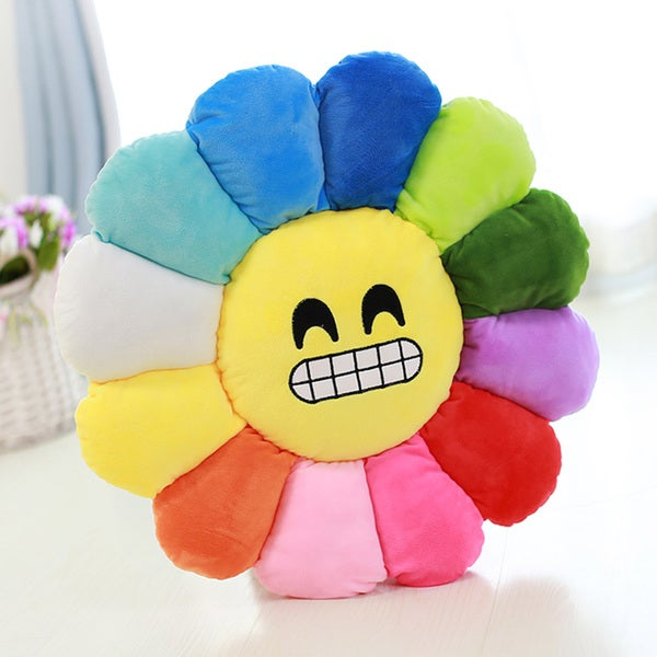 BH Toys Emoji Plush Expression Gritted Teeth Flower Pillow