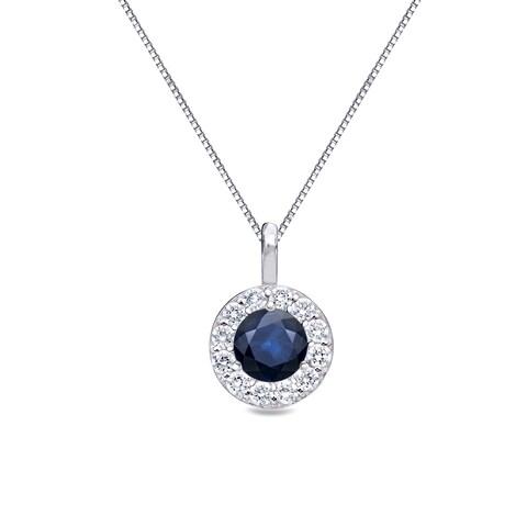 Auriya 14k Gold 1/8ct Round Blue Sapphire and 1/8ct TDW Halo Diamond Necklace
