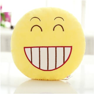 QQ Emoticon Face Yellow Round Plush Pillow