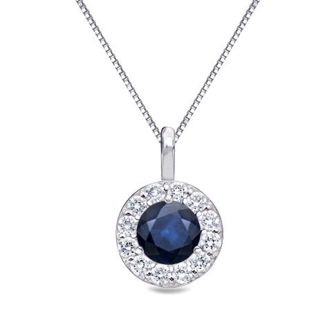14k Gold Round 1/2ct Blue Sapphire and 1/4ct TDW Diamond Halo Necklace by Auriya