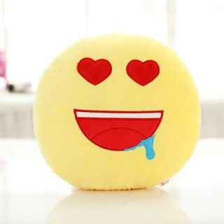 Yellow Cotton Red Heart Eyes Emoticon Face Round Plush Pillow