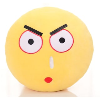 BH Toys Yellow Cotton Emoji Daze Face Plush Expression Pillow
