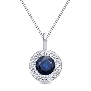 Auriya 14k Gold 3/5ct Blue Sapphire Gemstone and 2/5ct TDW Diamond Halo Necklace (H-I, I1-I2)