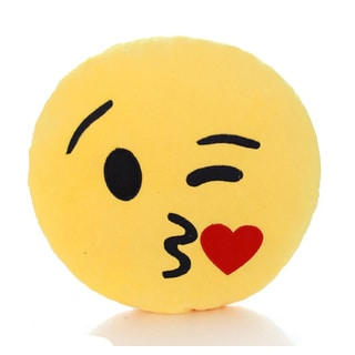 Yellow Cotton Kiss Face Emoji Mini Expression Plushie