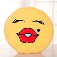 'Beauty Face' Multicolor Cotton Plush Expression Emoji Pillow - Yellow