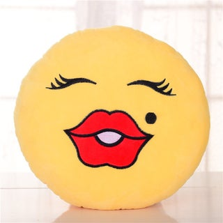 'Beauty Face' Multicolor Cotton Plush Expression Emoji Pillow