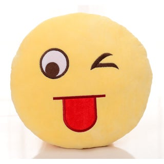 Emoji Plush Expression Naughty Face Pillow