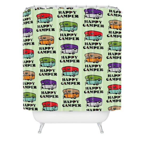 Andi Bird Happy Camper Green Shower Curtain