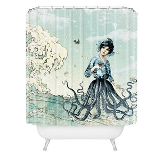 Belle13 Sea Fairy Shower Curtain - Blue/White/Multi