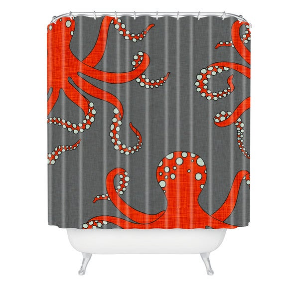Holli Zollinger Octopus Red Shower Curtain