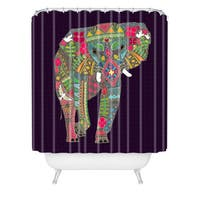 Sharon Turner Painted Elephant Purple Shower Curtain