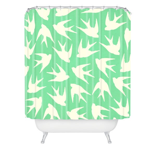 Jacqueline Maldonado Birds Celadon Shower Curtain
