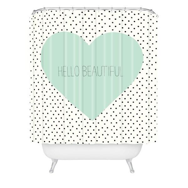 Allyson Johnson Hello Beautiful Heart Shower Curtain - Green/White