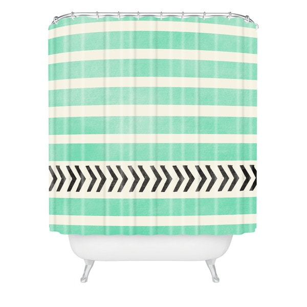 Allyson Johnson Mint Stripes And Arrows Shower Curtain
