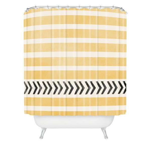 Allyson Johnson Yellow Stripes And Arrows Shower Curtain