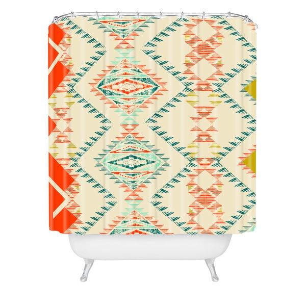 Pattern State Marker Southwest Shower Curtain - Beige/Red