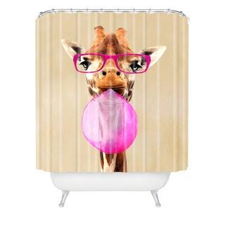 Coco De Paris Clever Giraffe With Bubblegum Shower Curtain