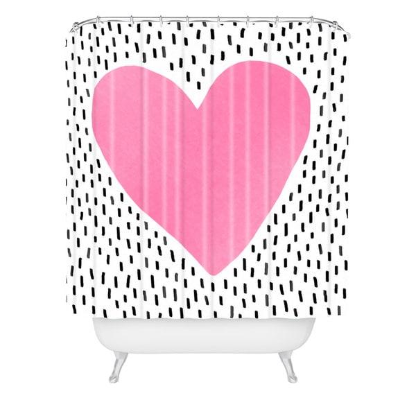 Elisabeth Fredriksson Pink Heart Shower Curtain