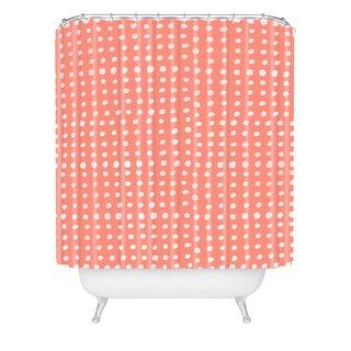 Leah Flores Peach Scribble Dots Shower Curtain