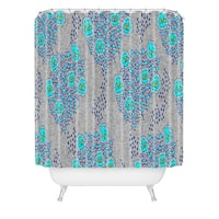 Holli Zollinger Boho Turquoise Floral Shower Curtain