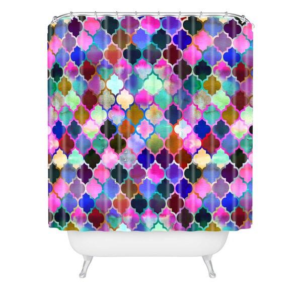 Schatzi Brown Marrakech Market Tilemix Shower Curtain - Pink/Blue