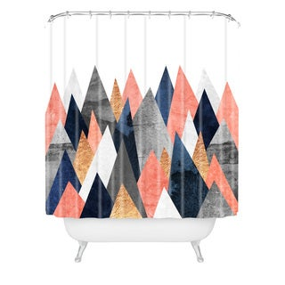 Elisabeth Fredriksson Pink And Navy Peaks Shower Curtain