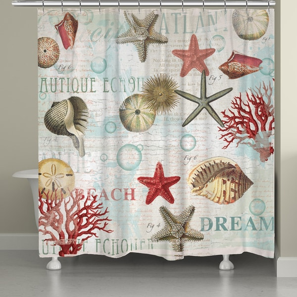 Laural Home Dream Beach Shells Collage Shower Curtain