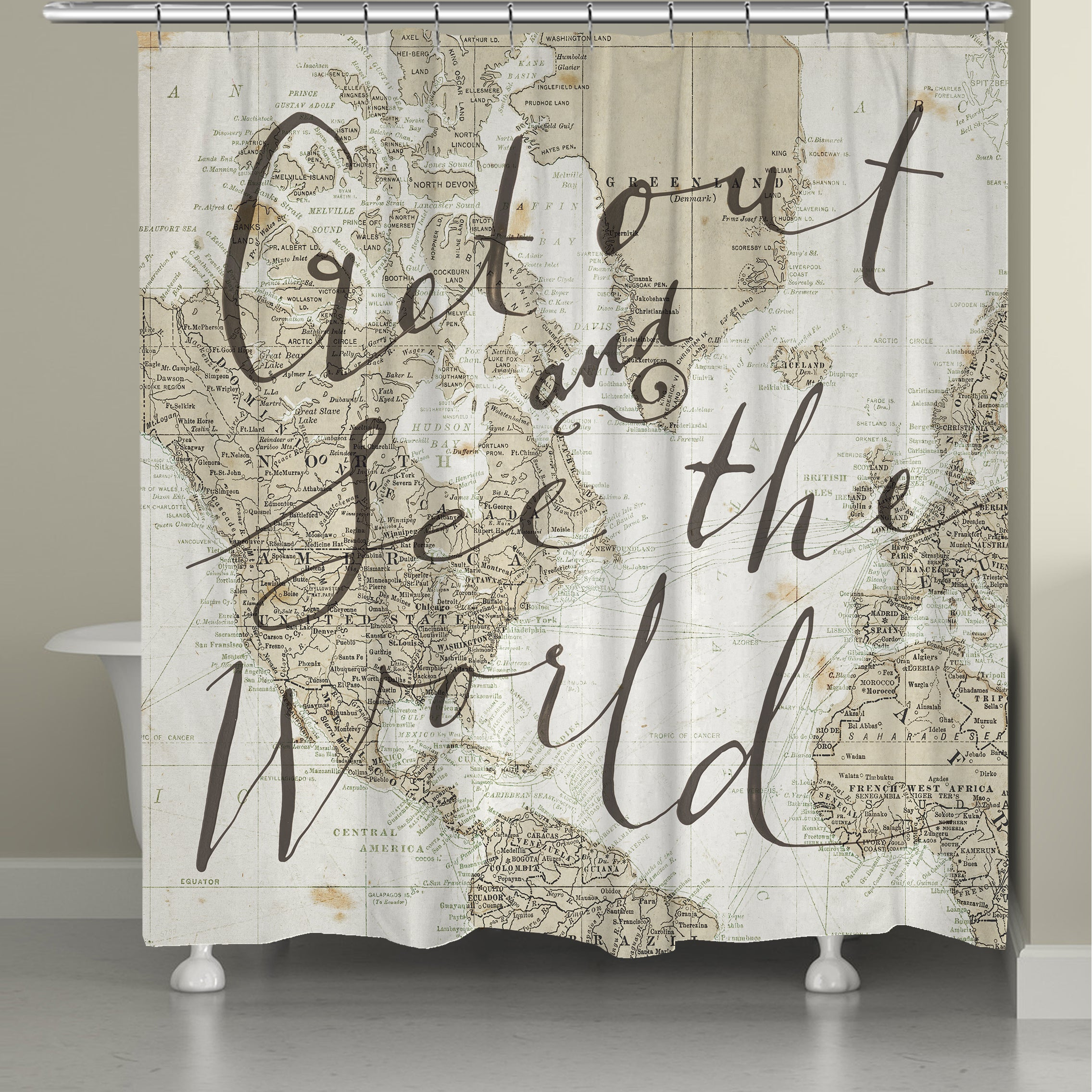 """Laural Home World Traveler Shower Curtain (71"""" x 72""""), Be..."""