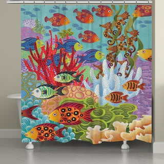 Laural Home Colorful Fish Shower Curtain