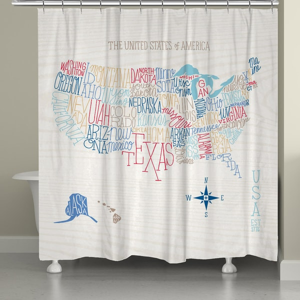 Laural Home Colorful Lettered Map Shower Curtain