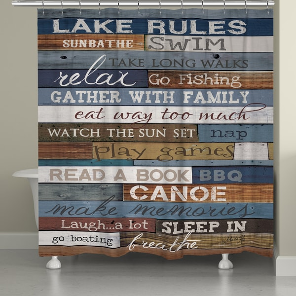 Laural Home Rules of the Lake Shower Curtain