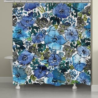Laural Home Blue Blooms Shower Curtain