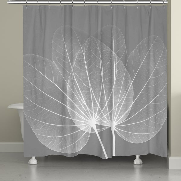 Shop Laural Home X-Ray Grey Leaves Shower Curtain - Free Shipping ...