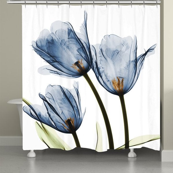 Laural Home X-Ray Blue Tulip Trio Shower Curtain