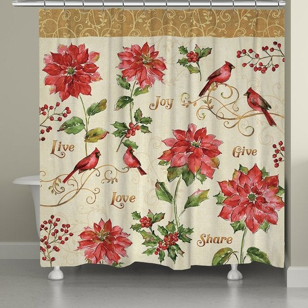 Shop Laural Home Red Poinsettia Shower Curtain