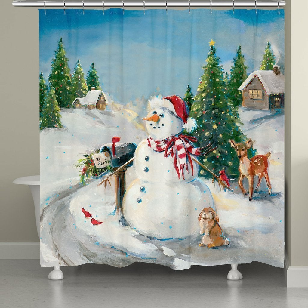 """Laural Home Letter to Santa Shower Curtain (71"""" x 74""""), B..."""