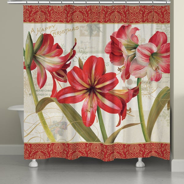Laural Home Holiday Amaryllis Shower Curtain