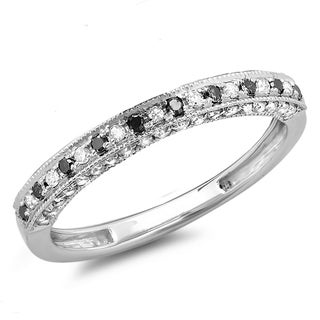 Elora 14k Gold 2/5ct TDW Black and White Diamond Stackable Wedding Band Enhancer Guard Ring (H-I, I1-I2)