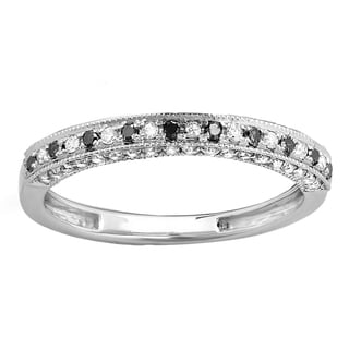 14k Gold 2/5ct TDW Black and White Diamond Stackable Wedding Band Enhancer Guard Ring (H-I, I1-I2)